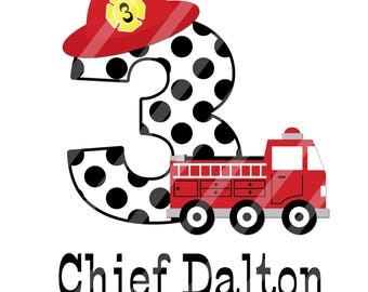 Fire Chief Little Red Fire Truck Birthday Number Digital Download for iron-ons, heat transfer, Scrapbooking, Cards, Tags, DIY, YOU PRINT