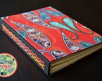 Wonderful handmade journal with woven chain stitch and covered in cotton fabric with paisleys