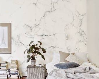 Delicate Marble Wallpaper/ Large mural / Monochrome Removable Self-adhesive Wallpaper / Marble Pattern Wall Covering / Easy to install  B010