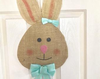 Burlap Bunny Door Hanger with Bow - Easter Door Wall Decor Girl Bunny Head