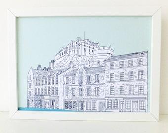 Edinburgh Print, Edinburgh Castle and Grassmarket, Mint green art print, digital print, art, Scottish art, Picture of Edinburgh, Scotland