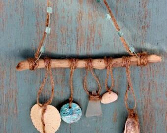 Dream Catcher , Mermaid Style Beach Wall Hanging , Driftwood Home Decor , Seaglass art