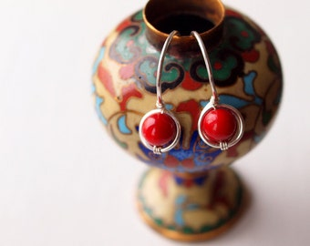 French style red coral dangle earrings in sterling silver