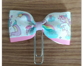Magical Unicorns bow Planner clip, bookmark, planner bow clip, rainbows, unicorns, pastel, hearts, stars