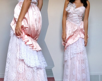 Party Dress Ball Gown Bustle Lace Pale Pink Masquerade Strapless Sweetheart Neckline Prom Dress - Extra Small. Small. XS/ S