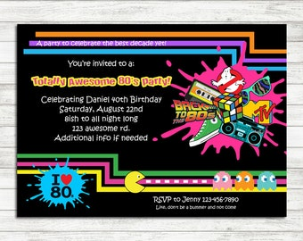 80s invitation Etsy