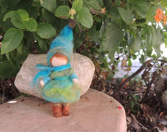 For tmcp81: Turquoise Elf with his Pumpkins- Waldorf Inspired Needle Felted Wool Soft Sculpture - gnome Medium