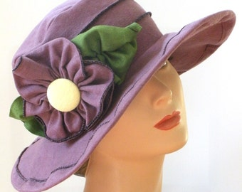 Organic Travel Sun Hat - Organic Cotton and Hemp jersey - Ladies Edwardian Hat - Traveling Mabel- Dusty Purple