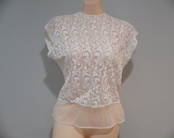 1950's White Nylon Lacey Embroidered Blouse by Perry