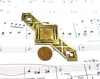 Vintage Eastlake Victorian Gothic Decorative Brass Plate Brass Hardware Accent Applique Doohickey