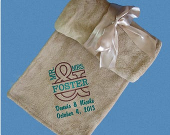 Wedding Gift, SUPER SOFT Personalized  Fleece Wedding Throw -  Monogrammed Wedding Blanket - Anniversary Gift - Anniversary Blanket