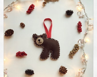 Handmade Felt Brown Bear Christmas tree / nursery decoration / animal ornament / home decor