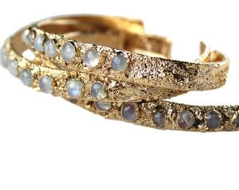 moonstone bracelet, moonstone cuff, rainbow moonstone, gemstone bracelet, gold cuff bracelet, layering bracelet