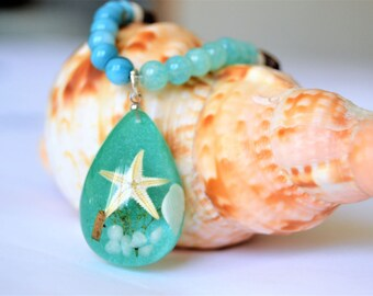 STARFISH Pendant Necklace Teal Shell Beads Watery Aqua Glass Beads and Wood Beaded Beach Necklace