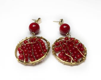 Handmade Earrings made with Coral and Gold Filled