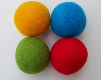 Felted Wool Dryer Balls - Carnival - handmade in Manitoba, Canada