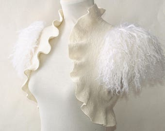 Feather Fur Shrug Ivory Bridal Black Swan Costume Bolero Felt Jacket Marabou Wool Cover Up Wedding Wing Romantic Bridal Clothes