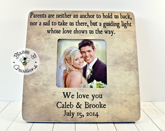 ON SALE Custom Parent Picture Frame, Thank you Gift for Parents, Parents are Neither An Anchor, Wedding Thank you, Parents Gift
