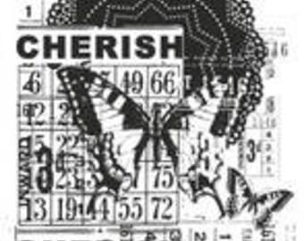 Butterfly Stamp, Vintage Cherish, Kaisercraft Stamps, Acrylic Stamp, Vintage Stamp