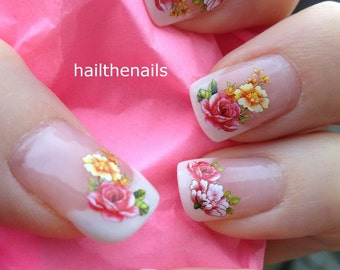 Nail WRAPS Nail Art Water Transfers Decals - French Roses Flowers YD1051