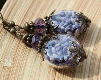 Earrings Genuine Lavender glass glass hollow Beads Vintage Look