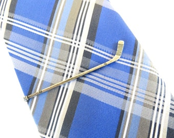 Hockey Stick Tie Clip- Hockey Stick Tie Bar- Sterling Silver Finish- Long Hockey Stick