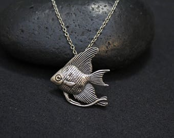 Fish pendant silver 925 sterling silver fish necklace sterling silver fish pendant beta fish necklace unique sterling aloadofball Image collections
