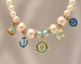 White pearls with nautical charms
