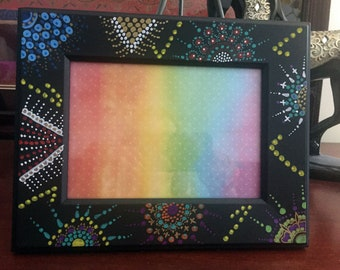 "Hand Painted Bohemian Black Wood Decorative Picture Frame  7.5""W9.5""Hx.5""D, Pic. 5""Wx7""H  F0087"