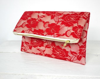 Red lace clutch, fold over red lace clutch | Red Bridesmaid Clutch | Wedding Clutch in Red