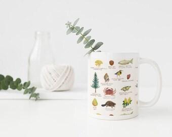 Oregon State Symbols Mug / Ceramic Mug / Oregon Mug / Portland Mug / State Symbols Mug / Cascadia Mug / Oregon Gifts / Portland Gifts