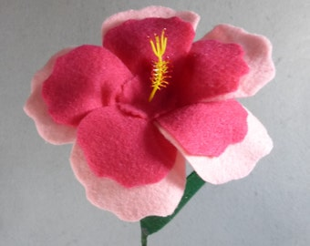 Pink Felt Hibiscus Made-To-Order-Artificial Flower Stem - Fake Flower - Felt Flower - Artificial Hibiscus - Fake Hibiscus - Hawaii Flower