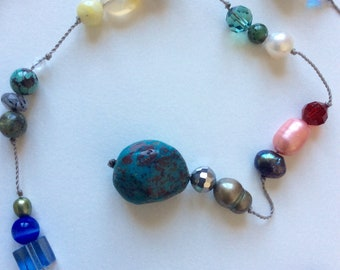Mixed semi-precious stone and bead lariat. Hand-knotted, unique design, handmade, one off.