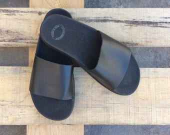 Black Greek sandals, Slider, Leather sandals, Women sandals, Greek Gladiators Sandals, Black sandals, Black Leather Sandals, Women slides