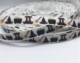 """3 yards 3/8"""" Halloween Fall witch broom and more  grosgrain"""