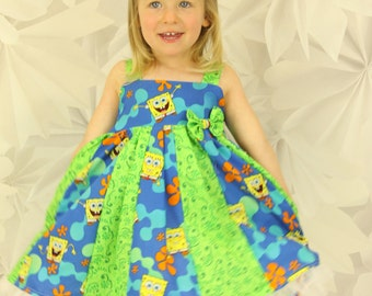 custom boutique twirl dress made with sponge bob fabric  size 2-6