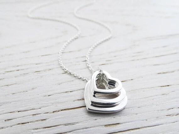 Sterling Silver Triple Heart Necklace