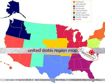 United States Region and State Map Teaching Resources Clipart