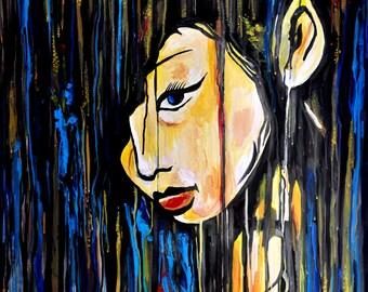 Japanese geisha portrait, ORIGINAL acrylic painting, Geisha smiling, women portraits, anime inspired, wall art, asian painting, Alex Solodov