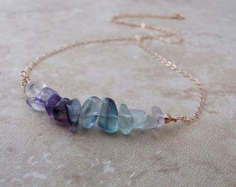Raw Rainbow Fluorite Necklace, Crystal Jewelry, Gemstone Bar, Layering Necklace, Stone Necklace, Natural Fluorite Jewelry