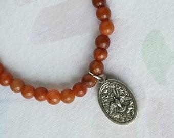 Holy Spirit Holy Family Medal Orange Jade Bracelet Gemstone Bracelet Round Beads Stretch Charm Bracelet Catholic Bracelet Confirmation Gift