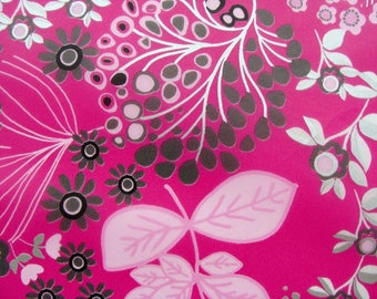 Set of 3 sheets of paper Decopatch patterns floral pink / black