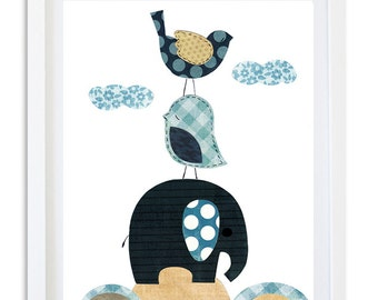 boys nursery Art, Nursery decor, boys elephant art print, kids room art,  - blue bird elephant