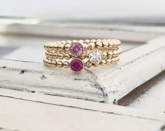 Gold Filled Stackable Birthstone Ring . Teeny Tiny Stacking Ring . Stackable Ring . Brag About It . Teeny Tiny Birthstone Stacking Brag Band