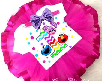 Elmo Abby Cadabby Cookie Monster Chevron Pink Purple 1st First Birthday Shirt Tutu Tee Sequins Bow Headband Set Baby Girl Outfit Set Custom