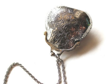 Clearance sale Aged silver tone locket purse pendant necklace