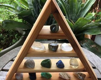 Quality Cedar Triangle Shelf, Beautiful Crystal Display Shelf, Not DIY Triangle Shelf, Pyramid Shelf, Triangle Shelves, Pyramid Shelves