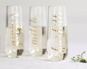 THE ORIGINAL Personalized Stemless Champagne Flute / Bridesmaid Champagne Flutes / Bridesmaid Gift / Bridesmaid Proposal Bridesmaid Box