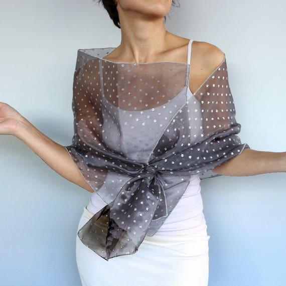 Wedding Gown Cover Ups: Gray Organza Evening Shawl Silver Shimmery Polka Dot Shawl