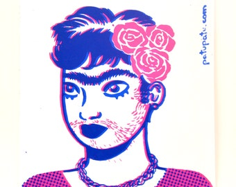 Screenprinted Sticker // Mono-eyebrow // Portrait